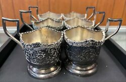 Antique Persian Sterling Silver Hand Engraved Ornate Landscape Tea Cups X 6 Cups