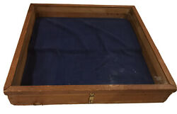 Antique Guardian Oak Wood Glass Tabletop General Store Jewelry Display Case