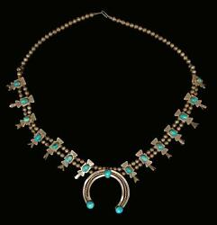Vintage Turquoise And Sterling Silver Box Bow Squash Blossom Necklace