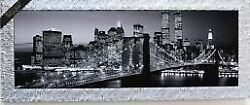Imports In Italy Night View Of Brooklyn Bridge Antique Monochrome
