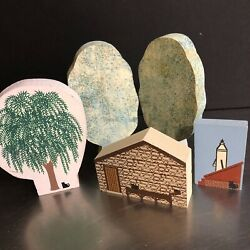 Cats Meow Village Vtg Set 5 Trees Weeping Willow Cabin Pump Wooden Collectibles