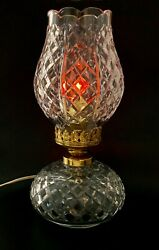 Vintage Waterford Crystal Tulip Top Shaped Shade Hurricane Electrical Table Lamp