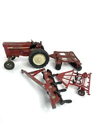 Vintage Toy Tractor Ertl International Harvester Tractor And Plows 4 Pieces