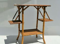 Antique Victorian Bamboo Side Pastry Table With Folding Side Chinese Style