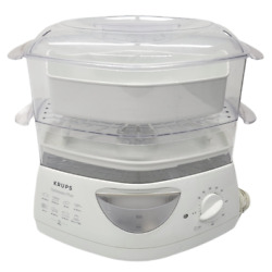 Krups Optisteam Plus Type 652 Food Steamer 2-tier W/ Tray And Dish Veggies Fish