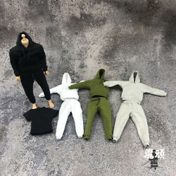 Male Clothes Suit 1/12 Scale Hooded Sweaterandvestandpant Fit 6and039and039 Male Figure Body