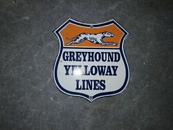 Porcelain Greyhound Yelloway Lines Enamel Sign Size 7 X 8 Inches