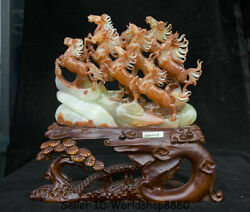 14 Collect China Art Natural Xiu Jade Hand Carved Feng Shui 8 Fine Horse Statue