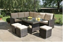 Chelsea Garden Company 8 Seater Brown Rattan Dining Set