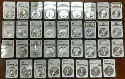 1986 - 2020 American Silver Eagle Set All Ngc Ms69 35 Coins W/slab Boxes