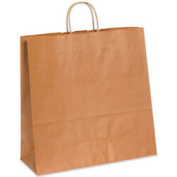 16 X 6 X 15.75 Kraft Brown Paper Mailer Shopping Bags With Handles, 2000 Pack