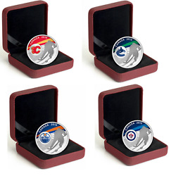 Set Of 4 .9999 2015 Silver Hockey Coins With Cases