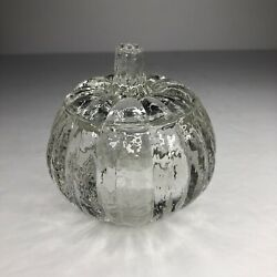 Homco Clear Glass Pumpkin Halloween Trinket Box Bowl Candle Holder With Lid 3.5andrdquo