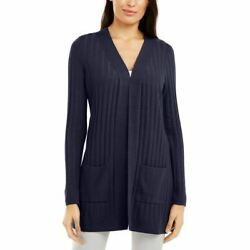 Alfani Womenand039s Ribbed-knit Open Front Cardigan Sweater Top Tedo
