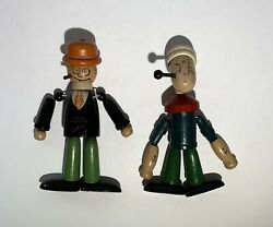 Antique Vintage Moon Mullins And Popeye Jaymar Toys Wood Jointed Figures