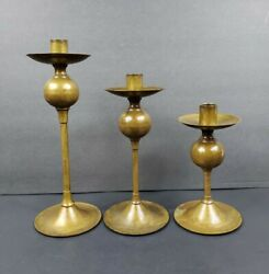 Vintage Set of 3 Solid Brass Graduated Candlestick Candle Holders 11quot; 9quot; 7.5quot;