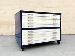 Vintage Flat File Double Stack Cabinet, Reclaimed Wood Top, Refinished To Order