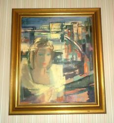 Vtg Latvian Artist Anna Darzina Oil Painting In Frame 29 X 25 Lady Womans Face