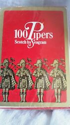 Scotch By Seagram Whiskey 100 Pipers Sealed Playing Cards Excellent Vintage