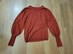 Ann Taylor Rust Orange Poet Puff Sleeve Sweater Womens Top Size Small