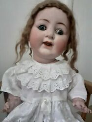 Antique Larg Jointed Doll Collectors Doll Bisque Face Glass Eyes Open Mouth