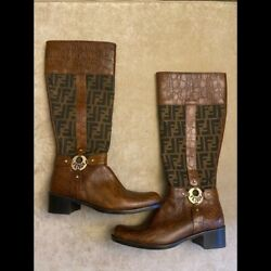 New Vintage Fendi Authentic Brown Cowboy Boots Zucca Mama Western Size 39