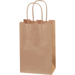 5.5 X 3.25 X 8.37 Brown Kraft Mailers Shopping Bags With Handles, 2500 Pack