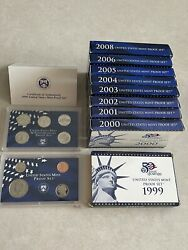 1999 -2008 United States Mint Coin Proof Sets 2007 Not Included