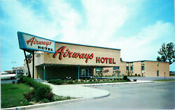 1950s Mcm Airways Hotel Exterior Sign View Buffalo Airport Ny Chrome Postcard