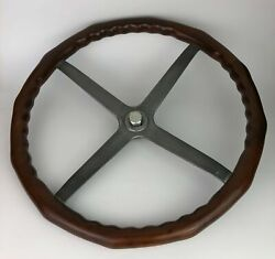 Antique Ford Model T Scalloped Wooden Wood Steering Wheel 17