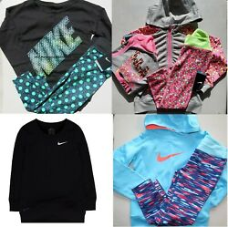 8pc Nike Girls Size 6x Winter Dri-fit Leggings And Hoodies And Top 265 Black Gray
