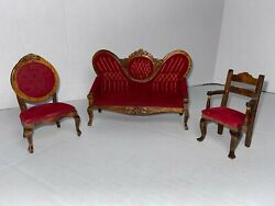 Dollhouse Furniture Miniature Victorian Couch/settee + 2 Chairs Euc-3 Piece Set