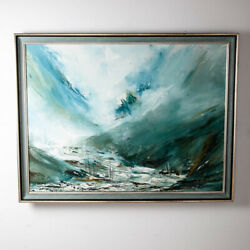 Mid Century Modern Oil Painting Bob Pepper Art Water Abstract Original Signed M