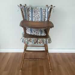 Vintage Wooden Baby Feeding High Chair W/ Sliding Tray And Cushions 1st Birthday