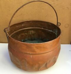 Vintage Very Large Coper Pot With Handle 12 Tall 19 Diameter Weights 7 Lb