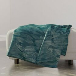 Throw Blanket Water Blue Aquamarine Silver Chinese Japanese Waves Sea 48 X 70in