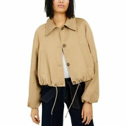 Inc New Womenand039s Button-front Drawstring Bomber Jacket Top Tedo