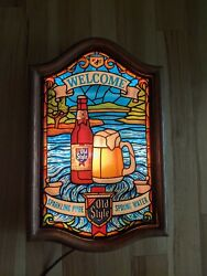 Heilemans Old Style Beer Water Draft Lighted Sign Faux Stained Glass