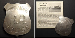 Union Pacific Railroad Badge Police, Boxed, Railway, Old West, Antiqued Finish