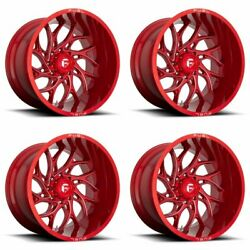 4 Fuel 20x8.25 D742 Runner Front Dually Wheels Candy Red Milled 8x210 +105mm