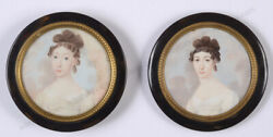 Anton Weissenfeld Died After 1836-attrib. Portraits Of Two Sisters Round Box