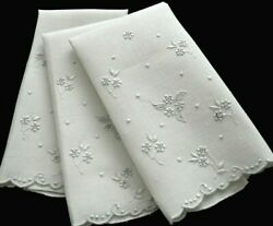 3 Madeira Embroidery Linen Guest Towels, Petit Flowers Hand Work. Vintage Lovely