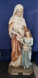 Antique Plaster Church Statue Of St Anne With Child Mary 60 Tall + Glass Eyes