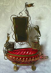 Antique French Cranberry Glass And Gilt Ormolu Vanity Ship Dressing Stand