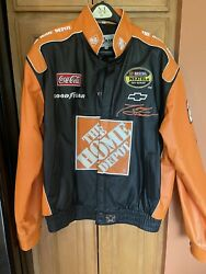 Authentic Tony Stewart The Home Depot Leather Coat Jacket Mens Xl Coca Cola