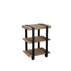 Alaterre Amsa0220 Modesto 2-shelf Metal Strap And Reclaimed Wood End Table