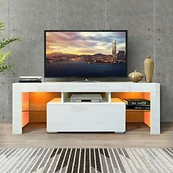 Tv Stand With Led Lights, 1 Drawer And Open 50 W X 14 D X 18 H White