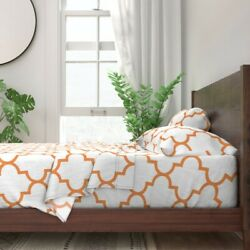 Orange Moroccan Tile Large Scale 100 Cotton Sateen Sheet Set By Spoonflower