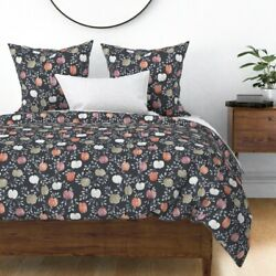 Dark Autumn Fall Watercolor Colored Pumpkins Sateen Duvet Cover By Spoonflower