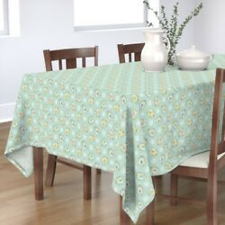 Tablecloth Floral Eggs Flowers Kitchen Easter Cotton Sateen